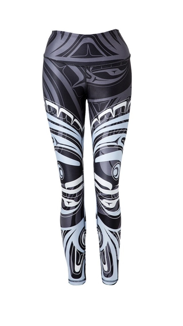 Wolf and Moon Black Legging