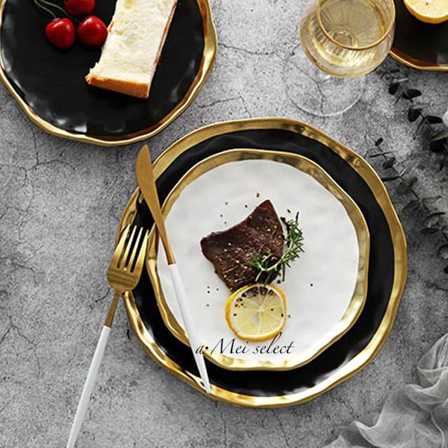 [L×2枚セット] 大人気!! 海外デザイン 高級セラミックゴールドエッジプレート お皿 食器セット 磁器 ディナー パティー 誕生日
