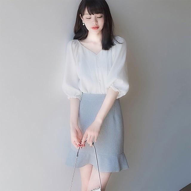 【2点セット】Vネックブラウス×マーメイドスカート 1