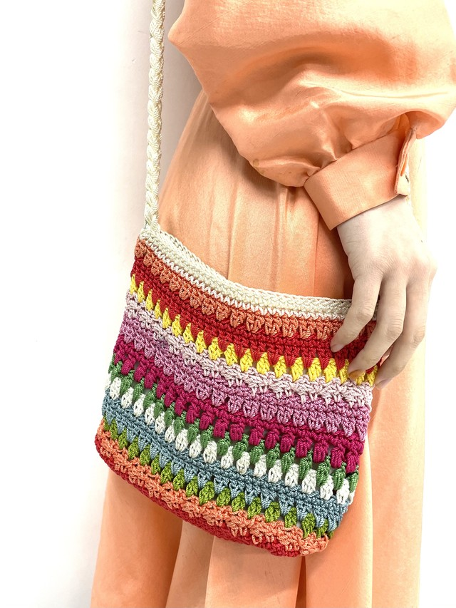 rainbow crochet shoulder bag / 2SSGD24-11