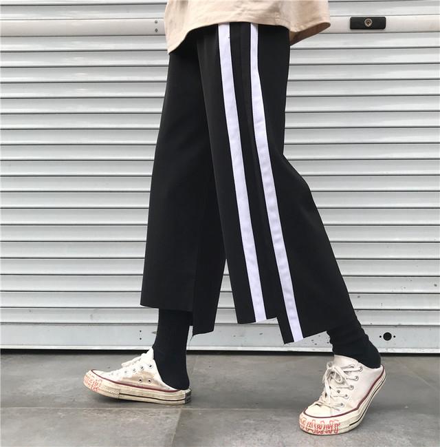 【bottoms】ファッション切り替え合わせやすいハイウエスト細見えストライプ柄カジュアルパンツ