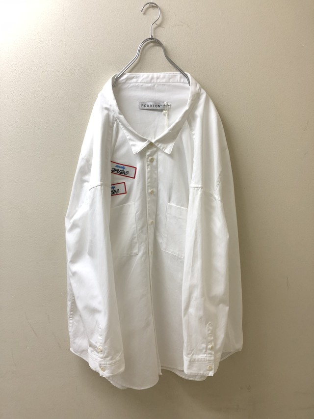 【 POURTON DE MOI 】ODD OVER WORK SHIRT→WHITE