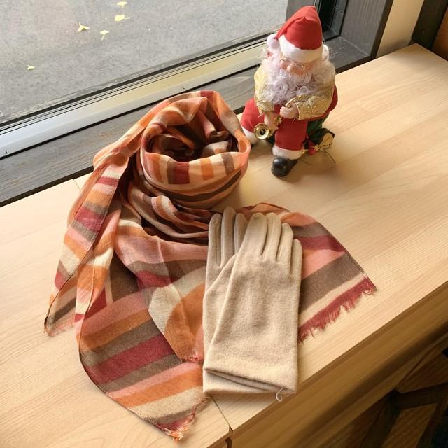 ウールスカーフ・手袋2点セット(橙・ベージュ)