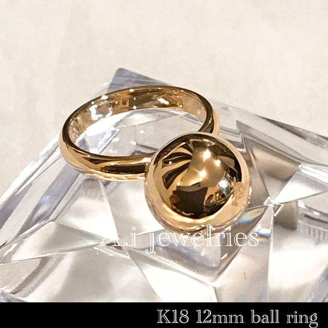 k18 18金 12mm ボール ball リング / k18 12mm ball ring