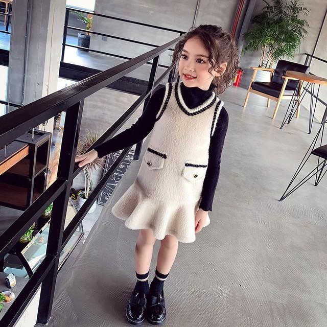 【KIDS】モノトーンパイピングワンピース