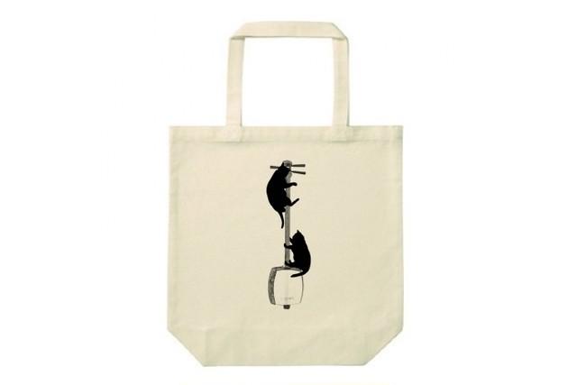 三味線と黒猫のトートバッグ