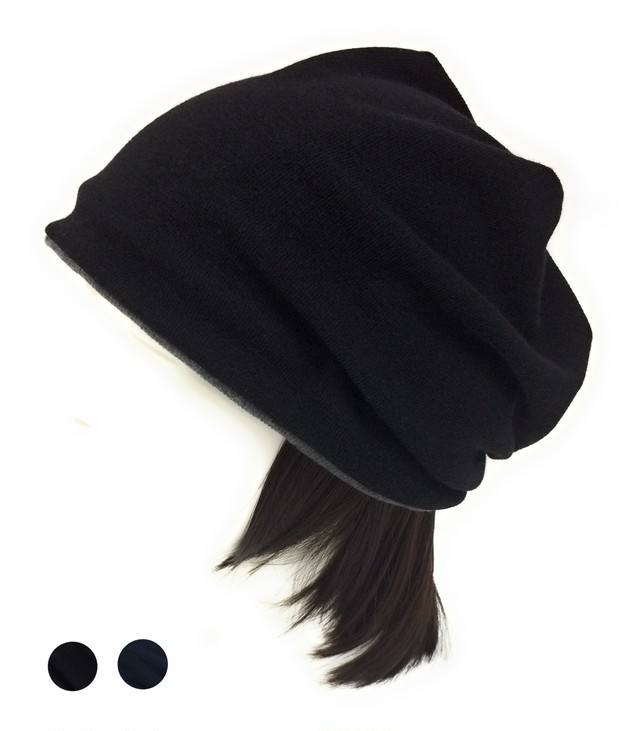 つけ毛付き:wig/白髪ショート/ニット帽子 Sサイズ /50~55cm(裏シルク)