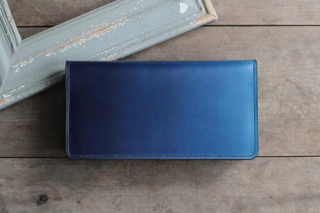 藍染革[migaki] 長財布 【天藍】
