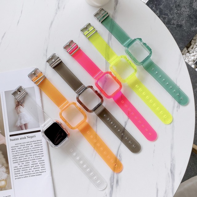 6 color variations clear apple watch belt