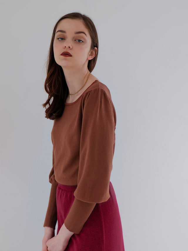 2way bicolor knit one-piece(brown×berry)