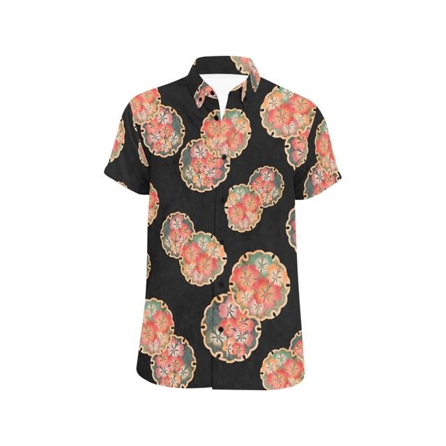 桜家紋蝶 黒 ユニセックス半袖シャツ