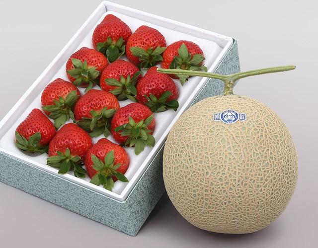 静岡マスクメロン、あまおう詰め合わせ〔送料無料、マスクメロン、アローマメロン、あまおう、苺、いちご、詰合せ、贈答用〕