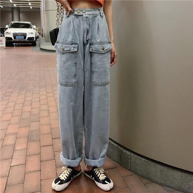 「ボトムス」ファッション無地ハイウエストデニムパンツ21866837