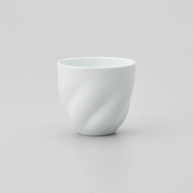 【中仙窯】白磁五方ひねりフリーカップ(丸型)