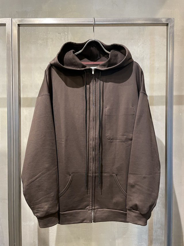 T/f loose fit zip hoodie - burnt