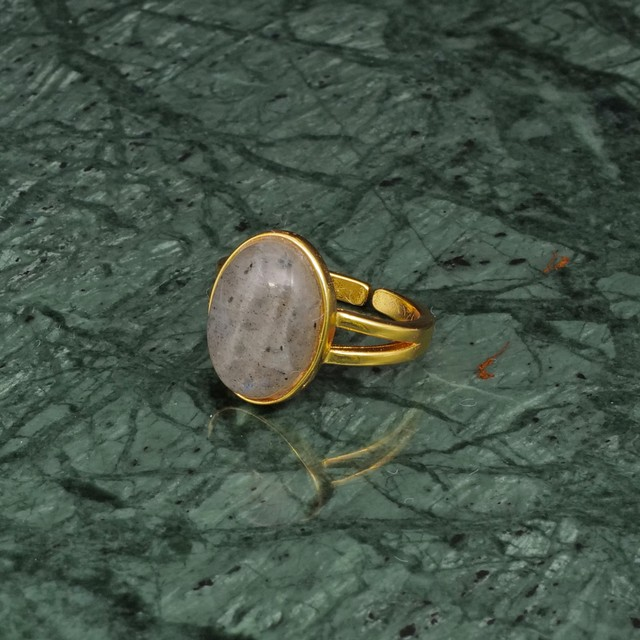 OVAL BIG STONE RING GOLD 009
