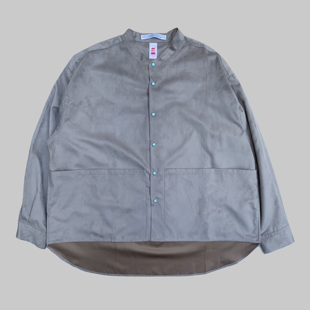 SUEDE LIKE BAND COLLAR SHIRT -GRAY-