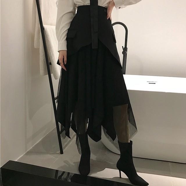 【ボトムス】絶対流行ファッション切り替えハイウエストAライン無地スカート27975003