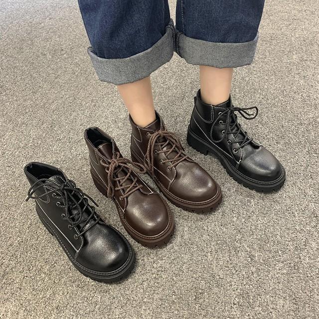 【シューズ】レトロ編み上げ暖かい丸トゥショート丈ブーツ/ブーティー36351595