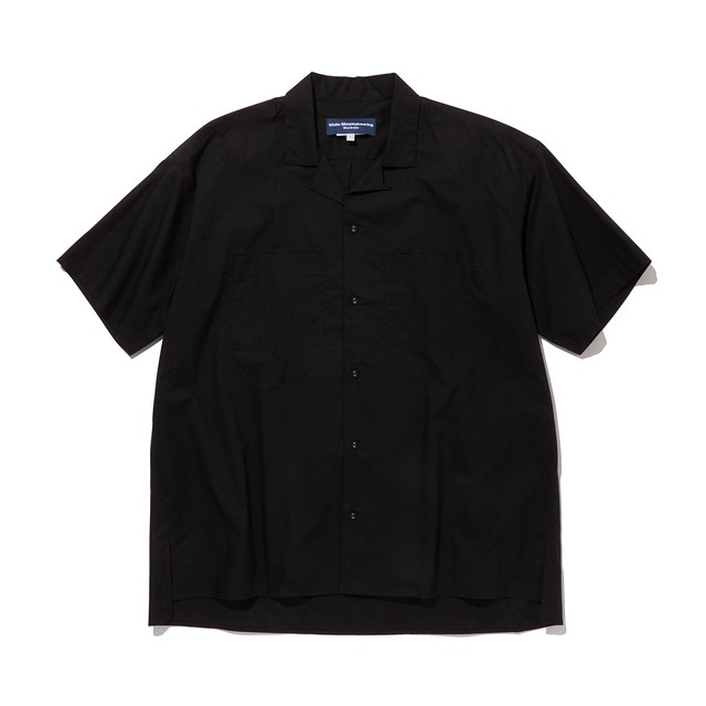 BROAD OPEN COLLAR SHIRT -BLACK