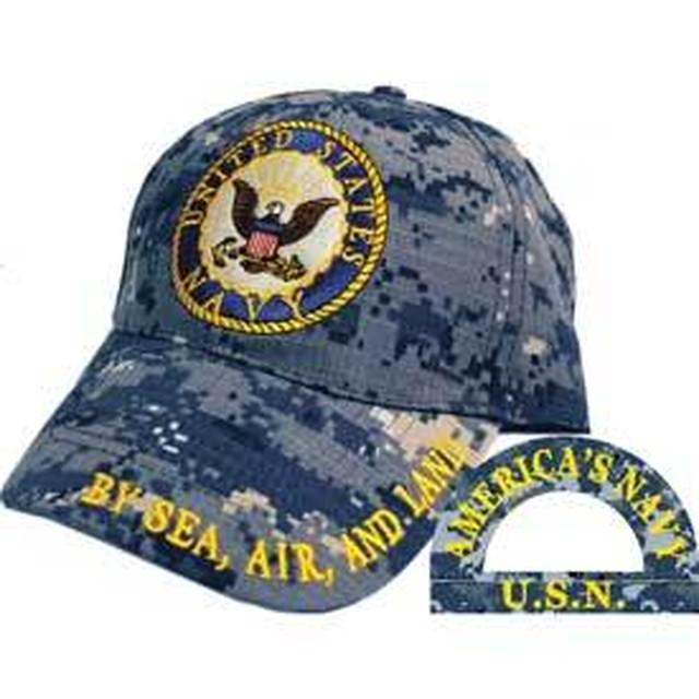 引続きセール主力商品20%OFF!  【ミリタリー】U.S.Navy ネイビー アメリカ海軍 ロゴ カモフラージュカラー キャップ【米軍正式ライセンス】