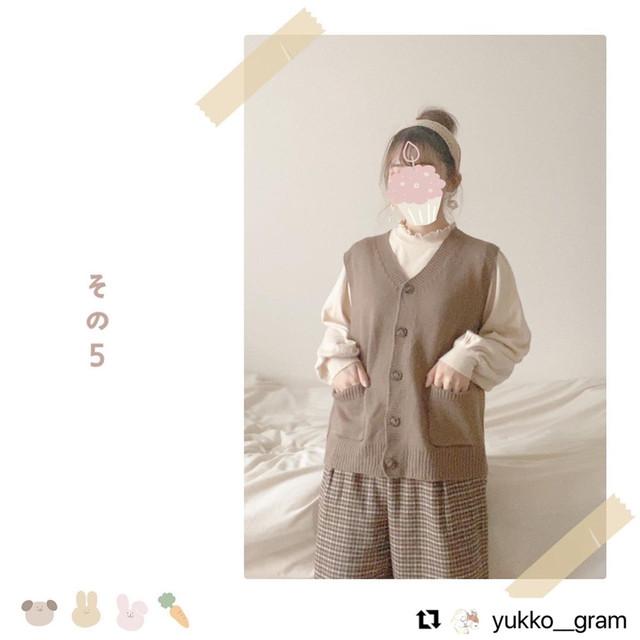 【送料無料】 レトロガール♡ 小花柄 ティアード ワンピース × ニット ベスト セットアップ