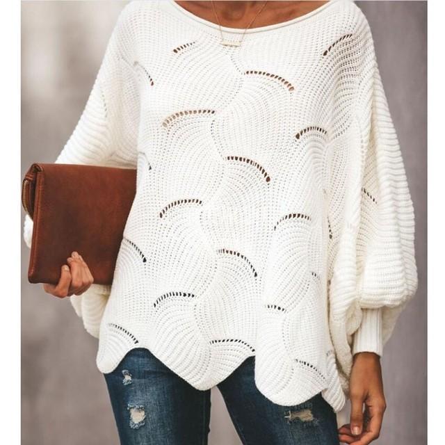 【トップス】ファッションラウンドネック透かし彫りドルマンスリーブプルオーバーニットセーター36307660