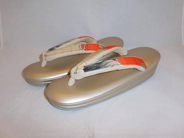 古布横縞鼻緒ぞうり(Lサイズ) Japanese shoes(No6)