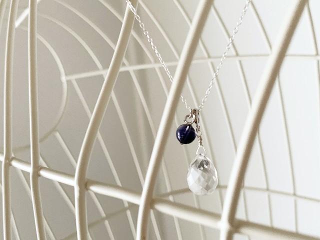 【4月&9月誕生石】アイオライト&水晶・ネックレス(SV925)