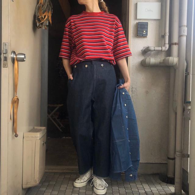 LENO(リノ) MULTI BORDER BIG T-SHIRT RED BORDER