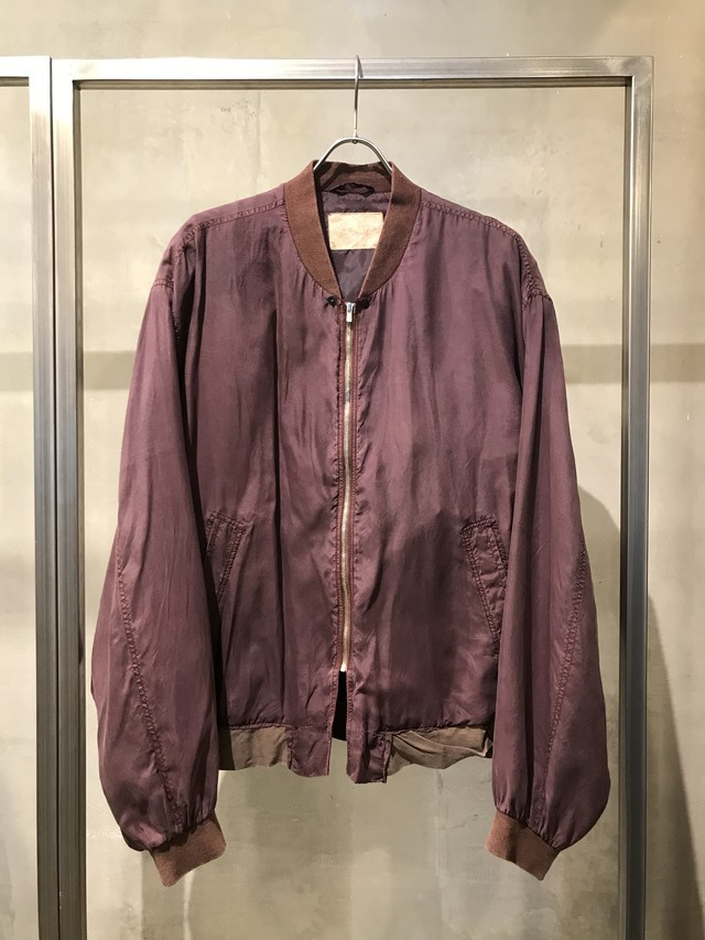 TrAnsference loose fit silk blouson - dark berry