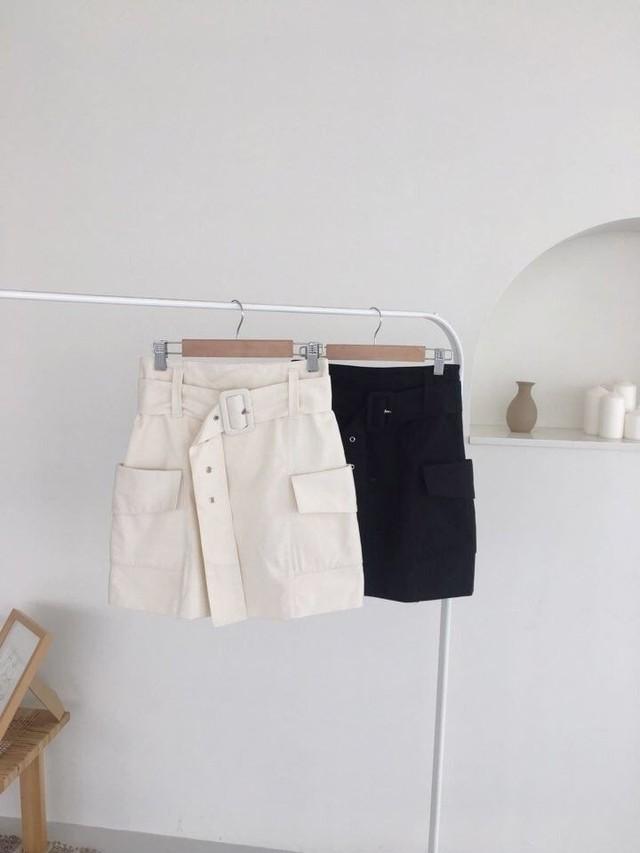 アンバランスベルトスカート スカート 韓国ファッション