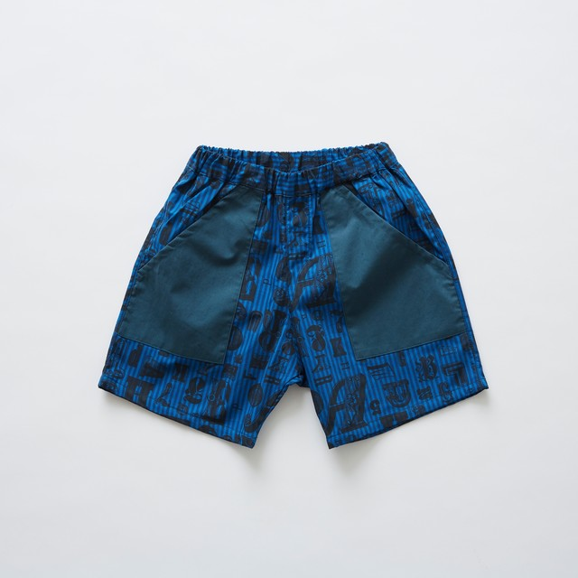 《eLfinFolk 2019SS》stripe × alphabetic print shorts / blue / 140cm