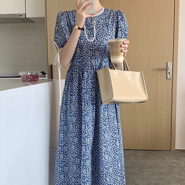 30%OFF Floral dress  blue / ワンピース / LE-142
