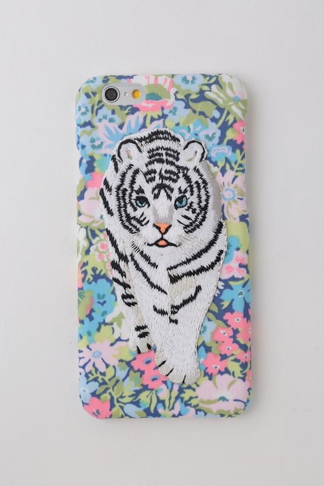 刺繍iPhone6/6sケース ホワイトタイガー【BLUE】