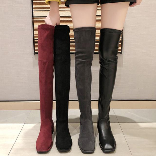 【シューズ】ファッション簡約無地暖かいローヒールロング丈ブーツ23515049