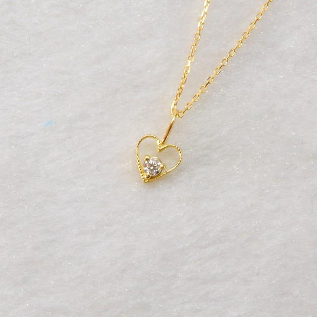 ダイヤモンドネックレス/K18YG/チェーン付【コード00E】