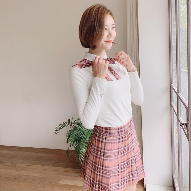 Girlish check Skirt(Pink)