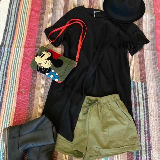 TOPANGA Lady's スプリットヘムTシャツ ブラック