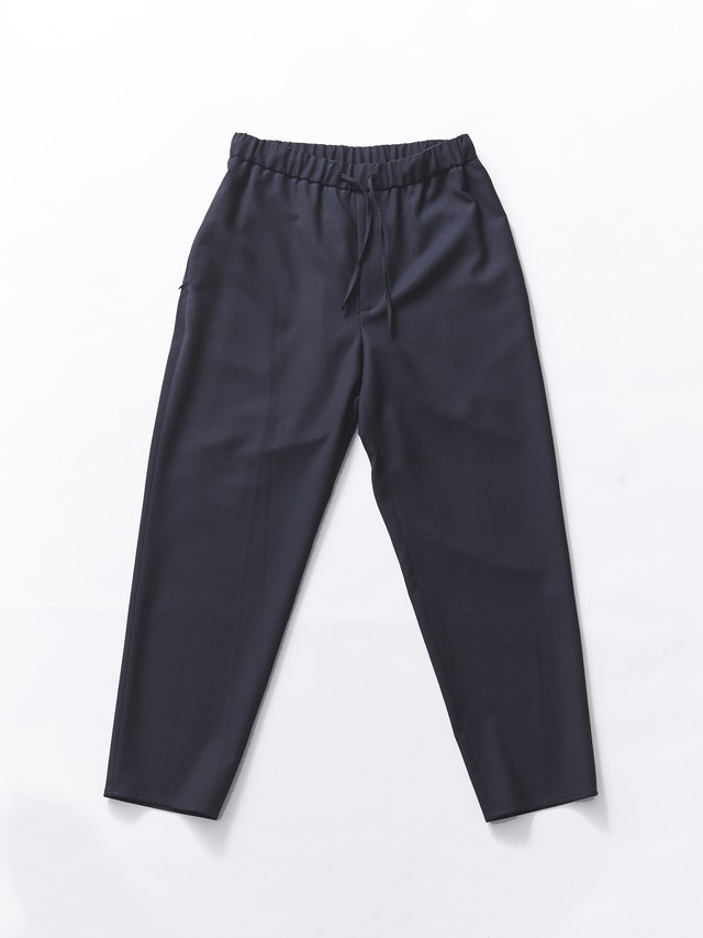 ATON WOOL CARAMEL PIQUET EASY TAPERED PANTS Navy PRAGBM0302