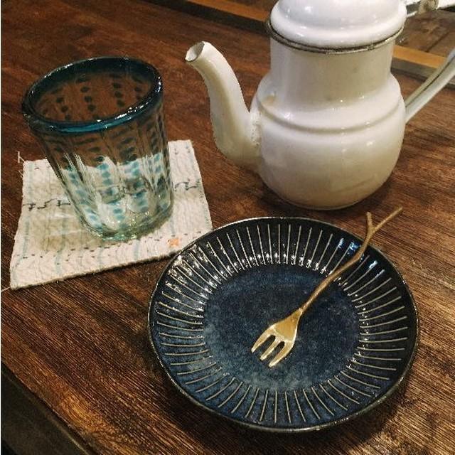 美濃焼 インディゴ十草 小皿 13.8cm