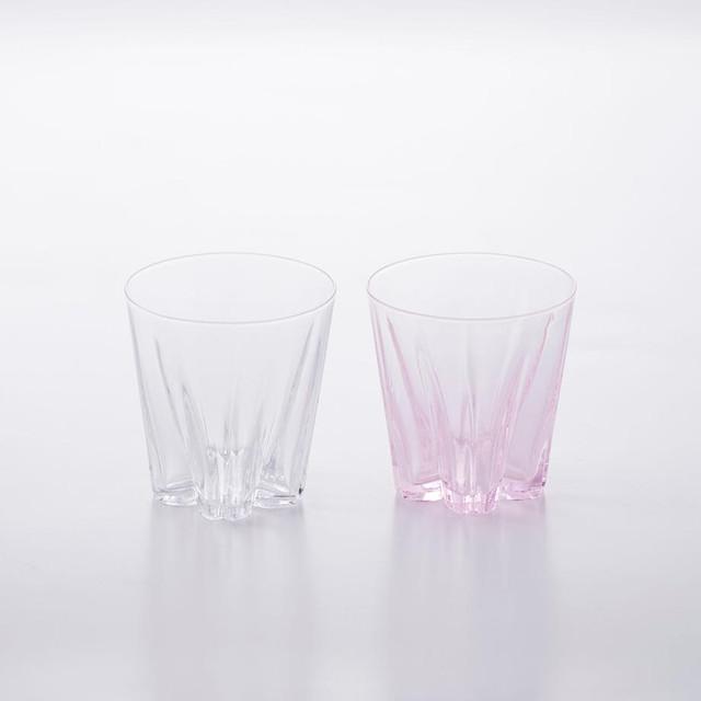 SAKURASAKU glass (サクラサクグラス) Rock(ロック)【紅白】ペアセット 木箱入り