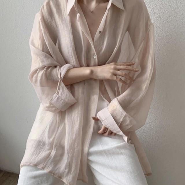 シアーシャツ シンプル ボリューム 5色 B4106