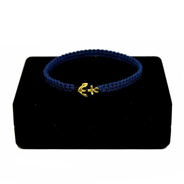 【無料ギフト包装/送料無料/限定】K18 Gold Anchor Bracelet / Anklet Navy×Black【品番 17S2010】