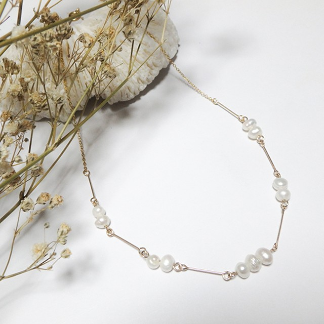 Pearl Line Necklace