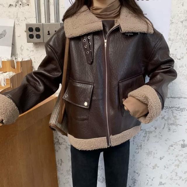 レザー ウール素材 ルーズ デザイン ジャケット 2色 B4680