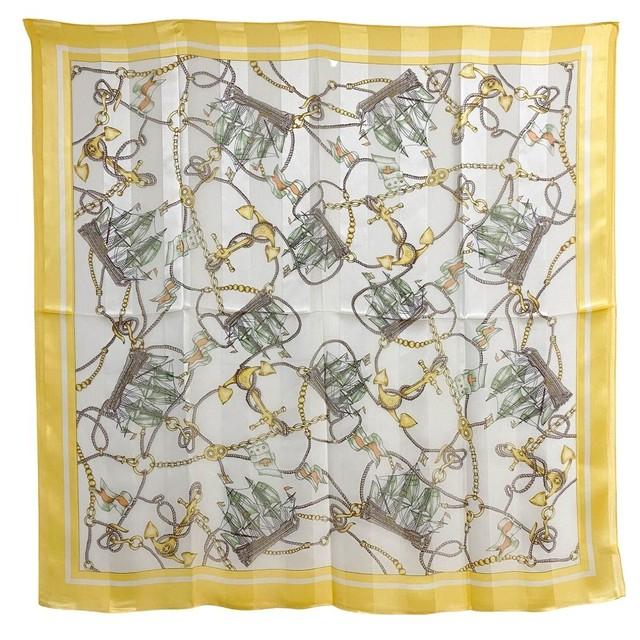 シルク100%|日本製|横浜スカーフ 手捺染 シーサイドアベニュー|カジュアル&ナチュラルなイメージ♪【sp029】