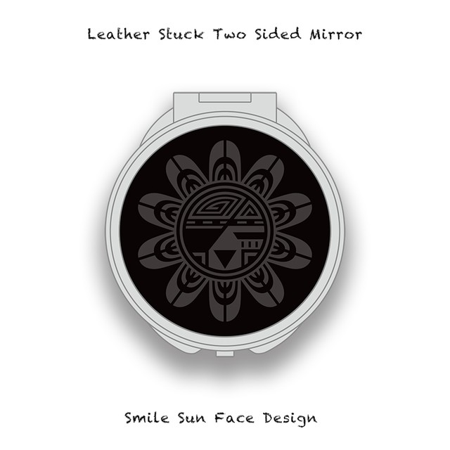 Leather Stuck Two Sided Mirror / Smile Sun Face Skull Design 003