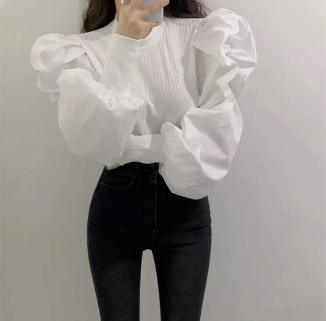 volume sleeve tops 2color