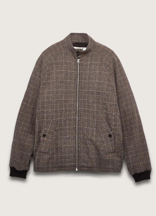 YMC LONDON SOUL BOY WOOL CHECK JACKET BROWN